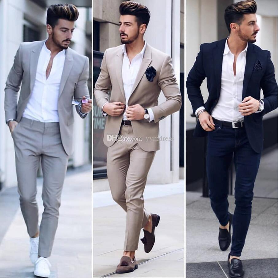 Ultra Acheter Costumes Chic Gris Mariage Hommes Slim Fit Epoux Smokings IJ-61