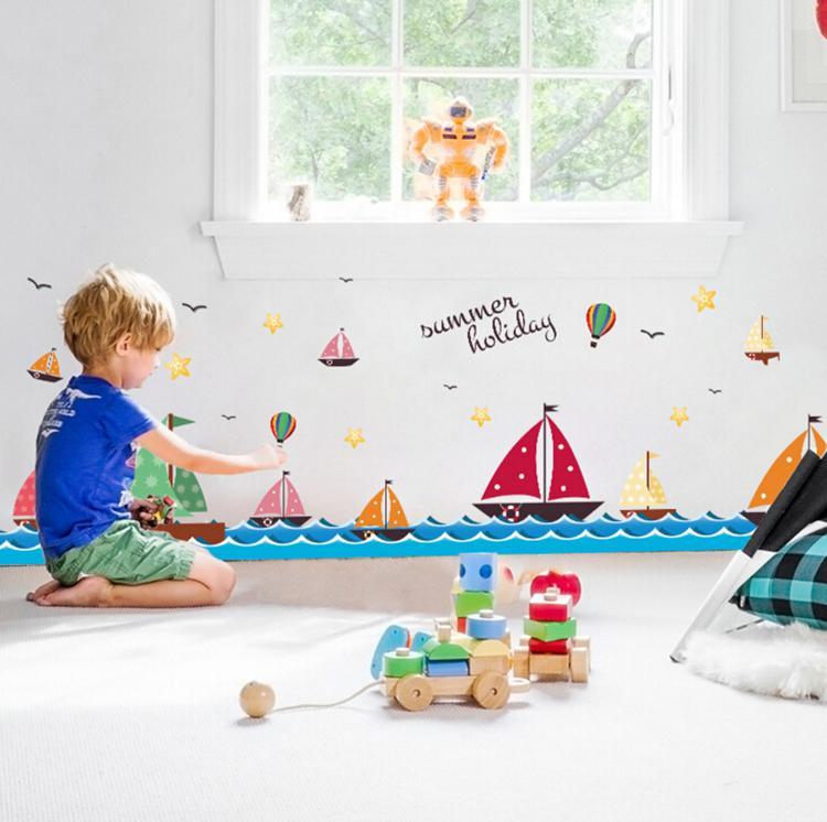 만화 바다 항해 열기구 벽 스티커 아이 방 인테리어 DIY 데칼 이동식 벽지