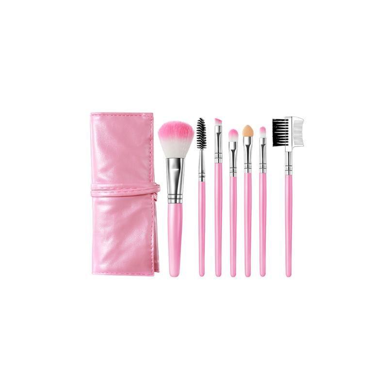 7pcs / set Make-up Pinsel Make-up Pinsel Kosmetik Foundation Blending Blush Eyeliner Gesichtspuder Kit Rosa