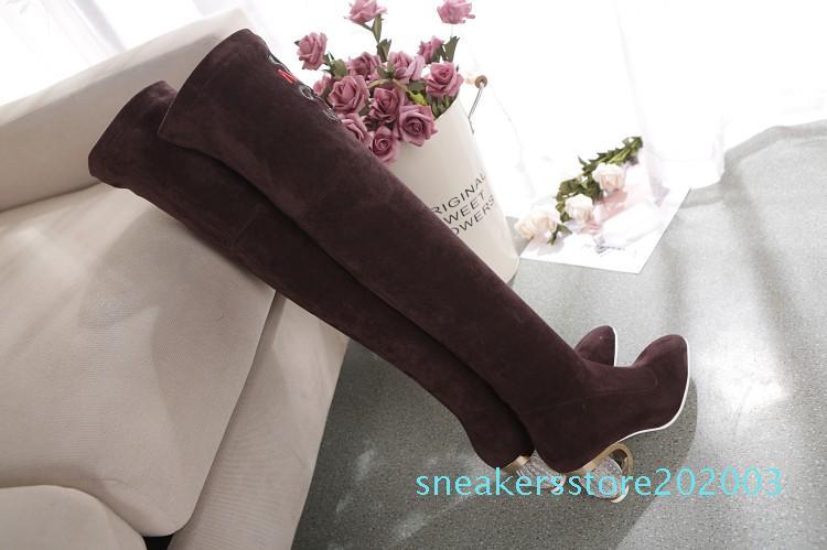 ASHIOFU El Yapımı Yeni Bayanlar Üzeri Diz Boots Stretch-deri Parti Dizden sonra Cizme Kulübü Moda Akşam Uzun Ayakkabı s03