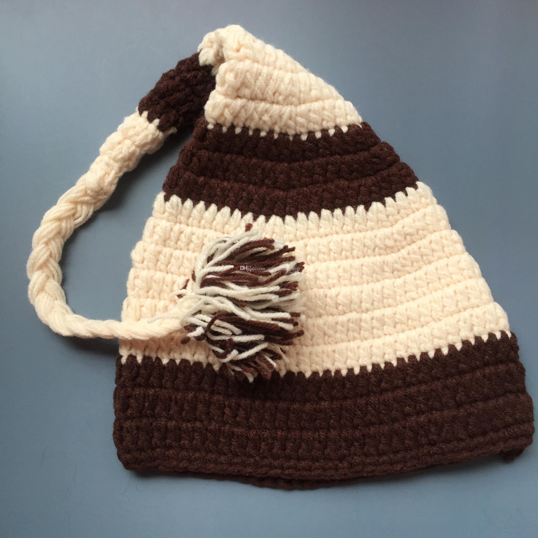 Crochet Baby Elf Hat,Handmade Baby Boy Girl Striped Stocking Hat with Braids Pom Pom,Kids Spring Winter Beanie,Infant Newborn Photo Prop
