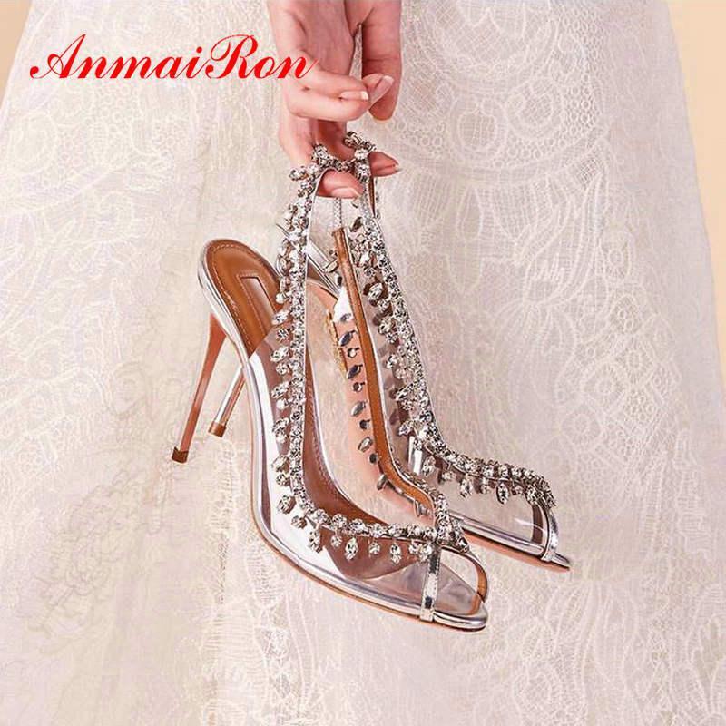 ANMAIRON Lüks Ayakkabı Kadınlar Tasarımcılar Şık Peep Toe Düğün Ayakkabı Slip-On İnce Topuklar PVC Seksi Parti Kadın Boyut 34-43 T200525 pompaları