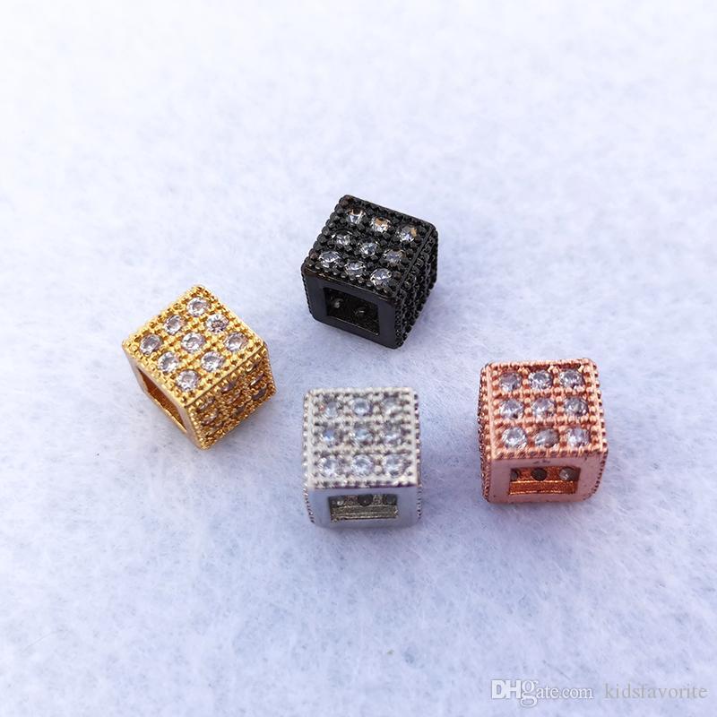 El yapımı Takı Bilezik Takı Yapımı Charms Spacer Boncuk DIY Aksesuarları CT517 için Geometrik Kare CZ Zirkonyum Boncuk