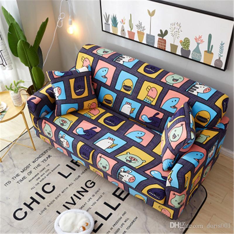 الموضة الجديدة الغلاف مطاطا أريكة وسادة كرسي يغطي قابل للغسل العالمي الاقسام الغلاف المخدة الكرتون أنماط هندسية