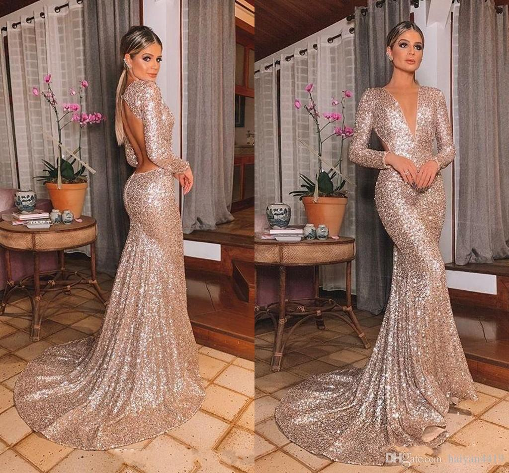New Sexy Sparkly Rose Gold Sequins Mermaid Evening Dresses Deep V Neck Long Sleeves Sweep Train Backless Sequined Prom Dresses Party Gowns