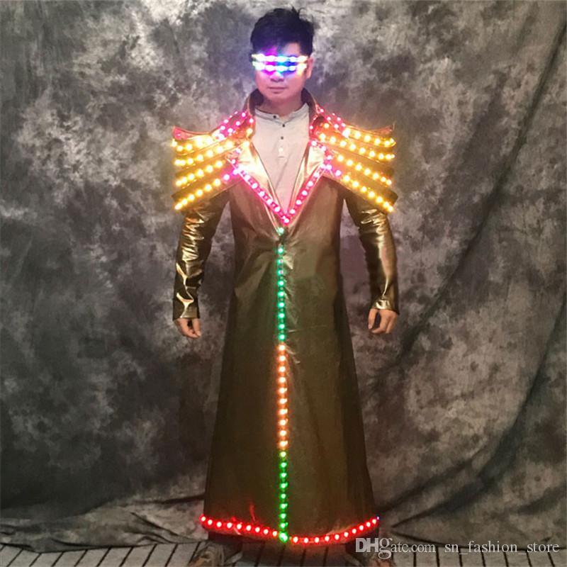 P70 Colorful led light costumes stage dance wears dj luminous jacket party perform men robot suit bar clothe glowing outfits dj show party