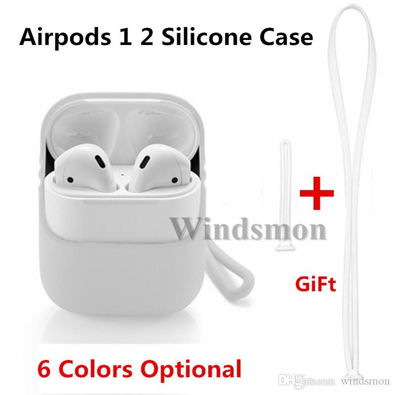 3 en 1 Pour AirPod 1 2 Housse en silicone anti-choc de protection Ecouteur pour Apple AirPod Casque Accessoires avec sangle de cou 50pcs