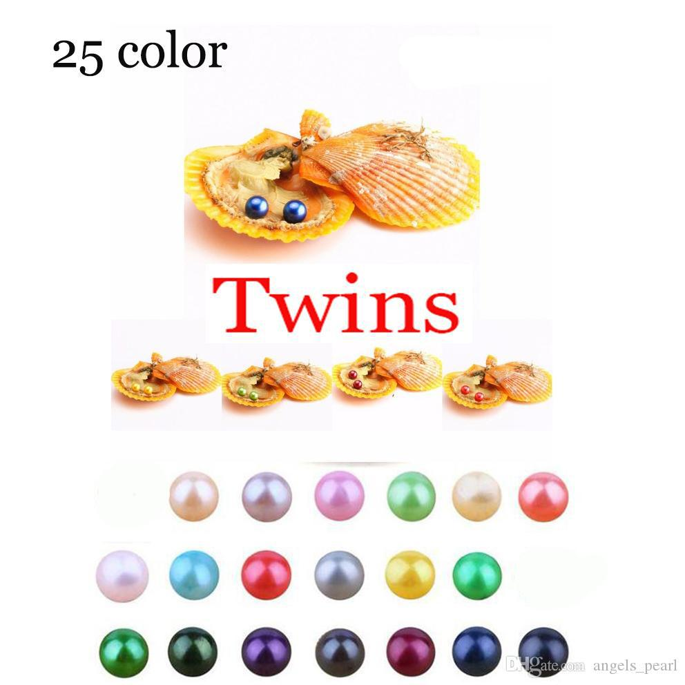 2020 Akoya High quality cheap love Seawater shell Twins pearl oyster 6-8mm Red shell pearl oyster with vacuum packaging Trend Gift Surprise