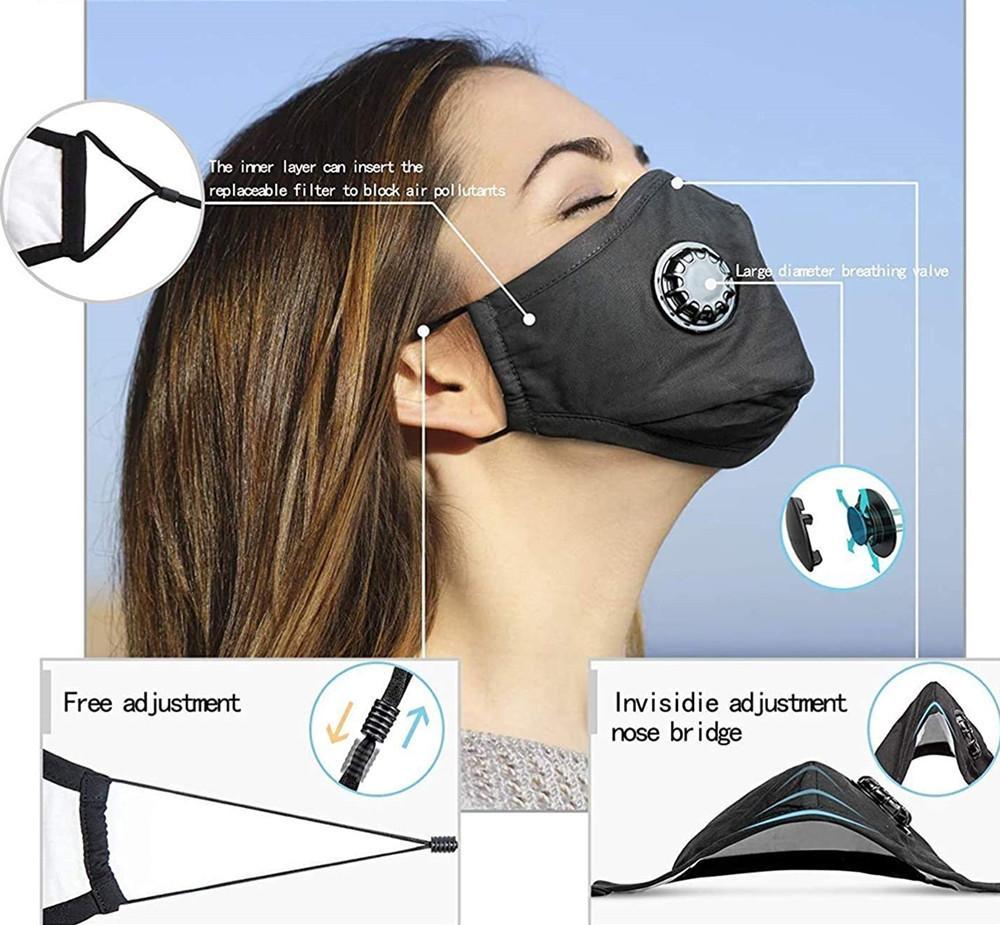 P2,5 un masque réutilisable lavable bouche contre la poussière de la fumée pollution du filtre réglable / 2 de la sécurité aérienne masques carbone pour homme wen