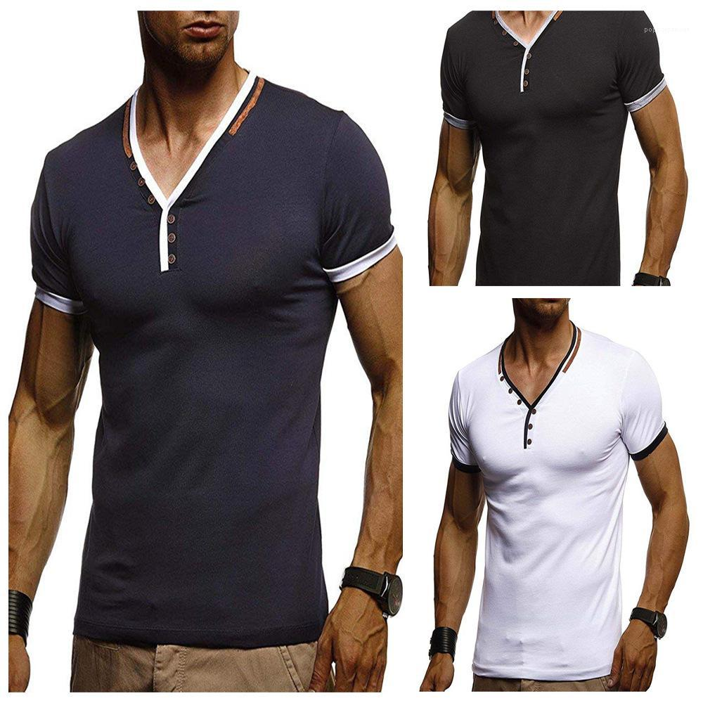 Spor V Tshirts Yaz Basit Erkek Short Sleeve Tees Erkek Düğmeleri Tasarım Temel Tee Tops