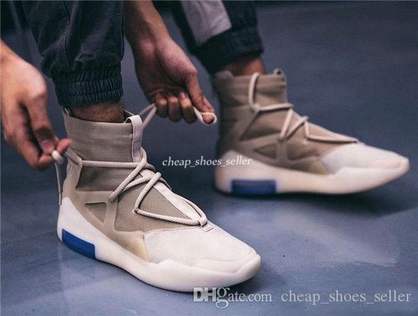 Caliente de aire de alta temor de Dios 1 Avena zapatos de baloncesto Jerry Lorenzo Cadena avena Tan Hue de punto superior Botín Hombres Deportes zapatillas de deporte 40-46 Eur