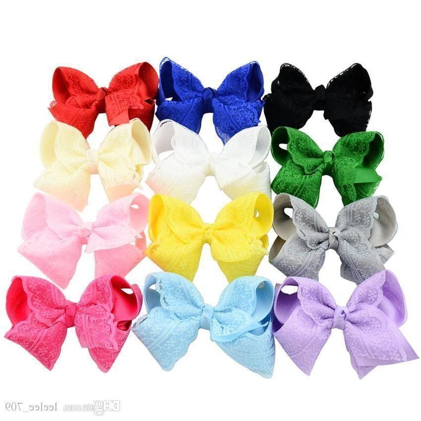 Baby Bow Hairpins Grosgrain Ribbon Boutique Bows With Clip Baby Girls Grosgrain Ribbon Lace Bow Clips Barrette Kids Hair Accessories Kfj104