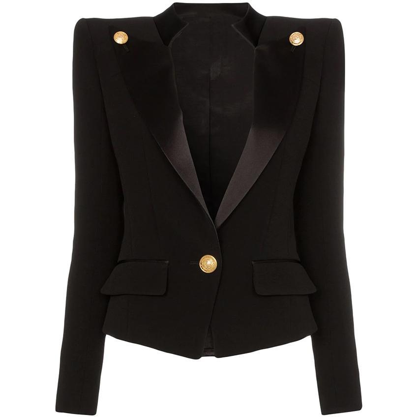 Новый дизайнер блейзер куртка женская одна кнопка атласный воротник блейзер мода женщины костюм блейзер