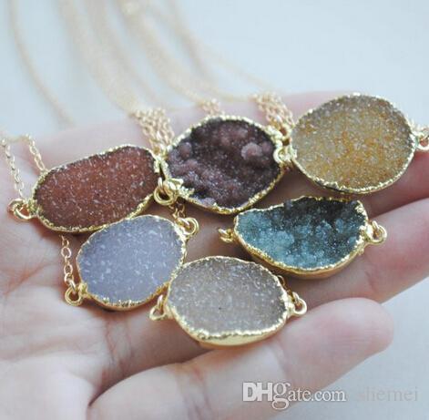 Оптово-New !! естественное ожерелье druzy с деревом прелестей в наличии, 24k позолоченный камень druzy агат ожерелье