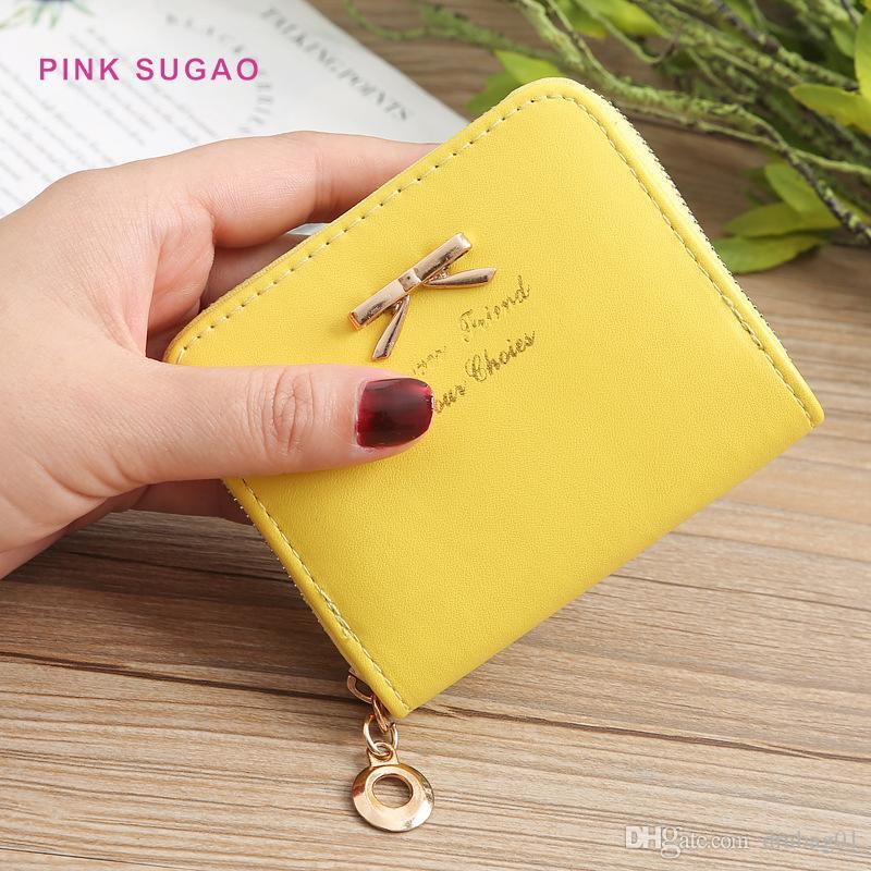 carta rosa Sugao progettista portafogli più freddo Lady Fashion Bag Coin arco semplice borsa della moneta del raccoglitore della chiusura lampo della cassa di carta a breve Coin Purse