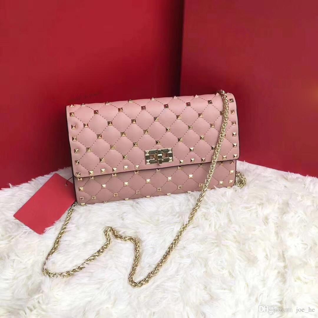 2019 famoso designer di borse di qualità delle donne del ribattino del sacchetto di spalla tempestato di frizione rivetti borsa borsa famoso disegno di lusso