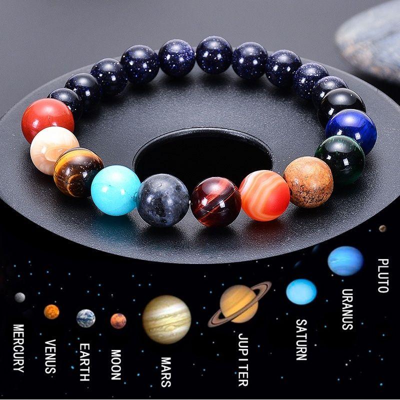 Planetary Céu Azul Arenito Moon Stone Cristal Natural Pedra contas Galaxy planetas do sistema solar chakra Bracelet Bangle dropship