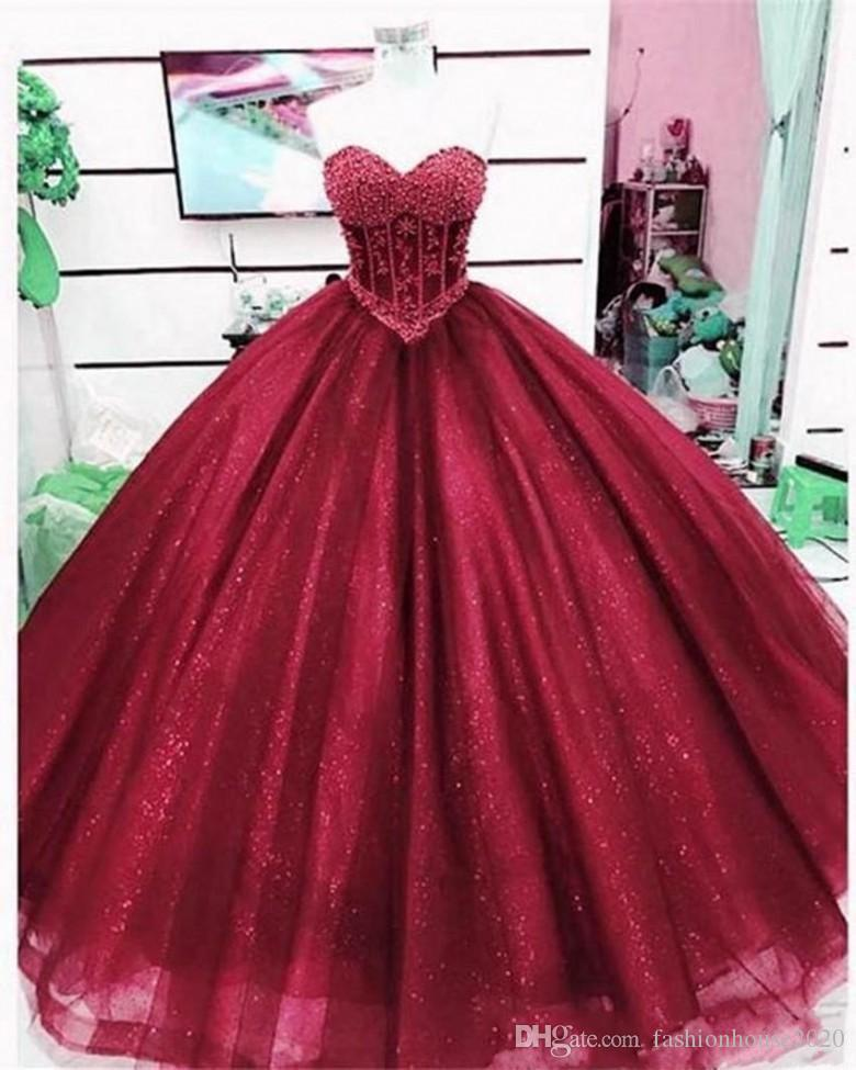 2019 Elegant Dark Red Quinceanera Dresses Ball Gown Sweetheart Tulle Appliques Lace Sleeveless Sweet 16 Dress Plus Size Formal Evening Gowns