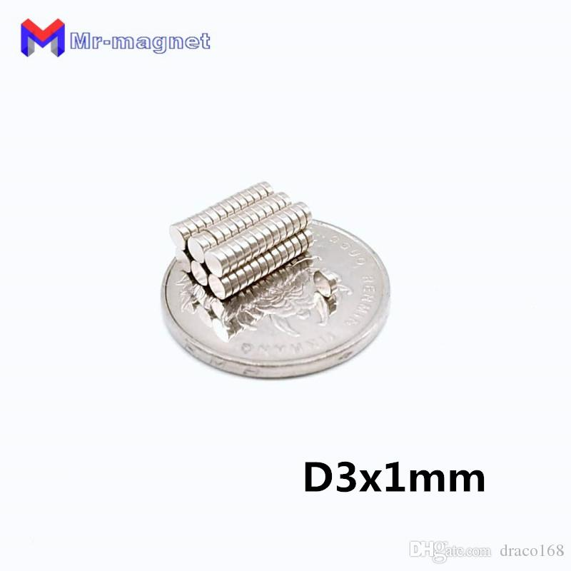 2019 imanes hot sale 80 degree Super Strong Fridge Magnet 500pcs D3x1mm 3x1 mm N35 permanant Rare Earth magnets 3mm x 1mm Axial magnetized