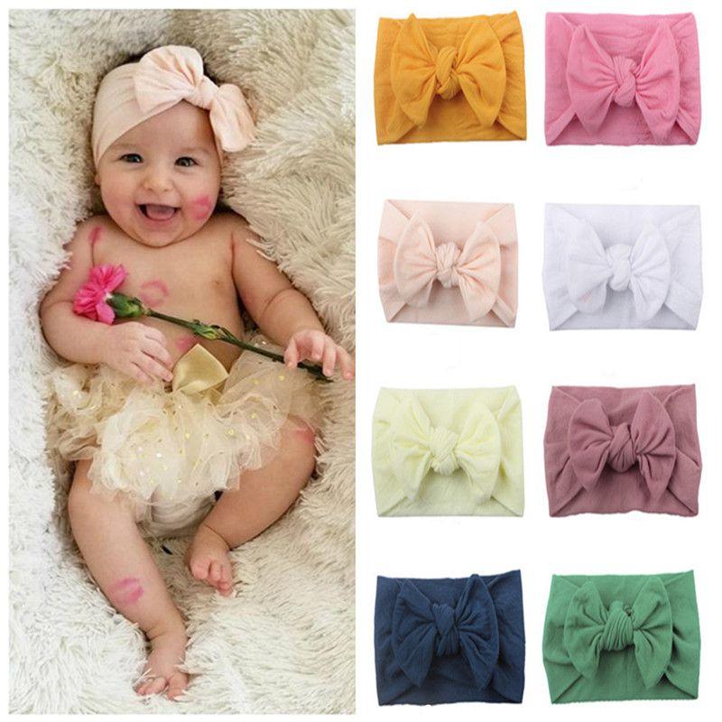 Bebé do INS bowknot Headbands Macio Nylon Faixa de Cabelo Bohemia Estilo Arcos Headwrap criança Meninas Hairband Adorável Knot Acessórios de cabelo Melhor