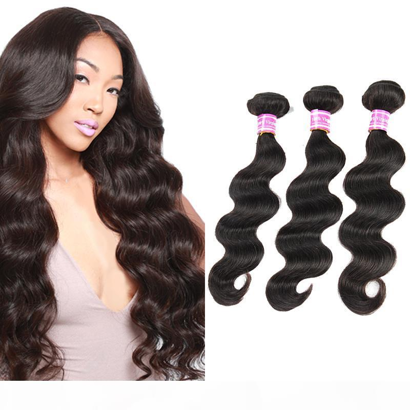 Brasileño Virgin Human Hair Weags Natural Black Body Wave Bundles Camboya Mongol Indio Malasia Mojado y belleza Paquetes de pelo