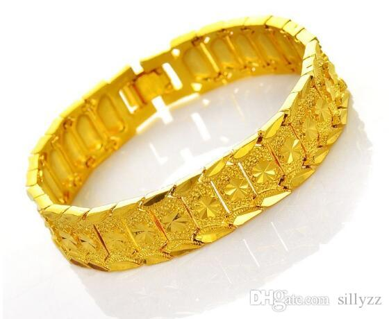 Hot selling pure brass processing to create gold-plated jewelry; Men's imitation gold bracelet.20 cm long and 1.2 cm wide