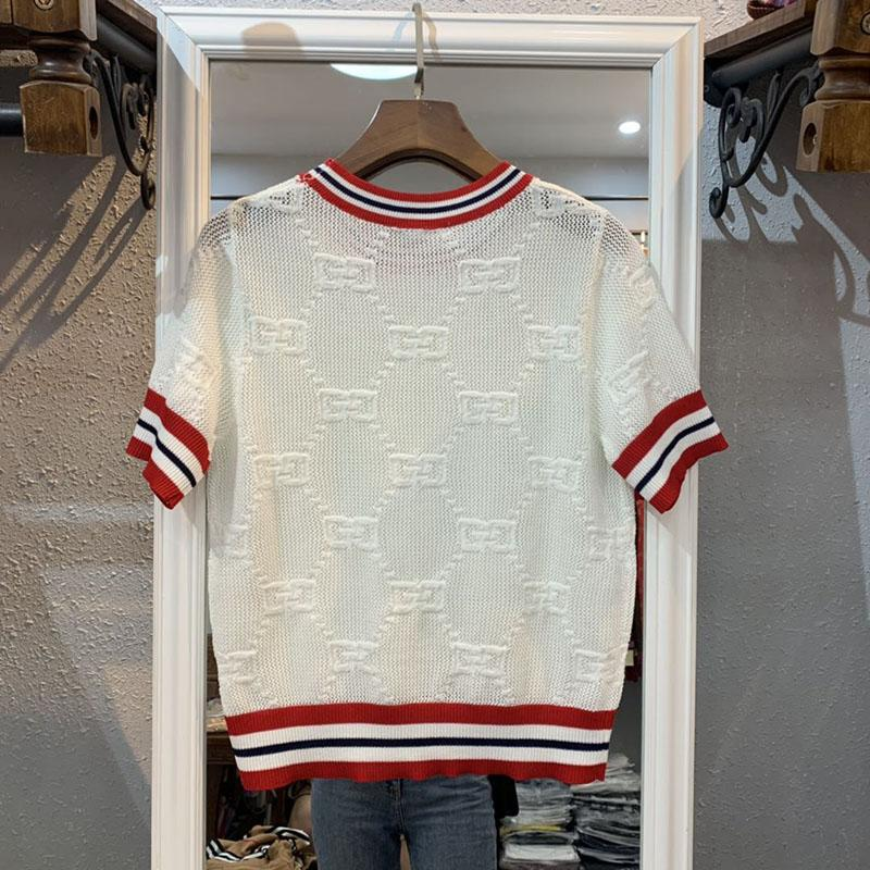 2019 new fashion women''s college style short sleeve hococal color block knitted logo letter jacquard weave hollow out sweater top shirt