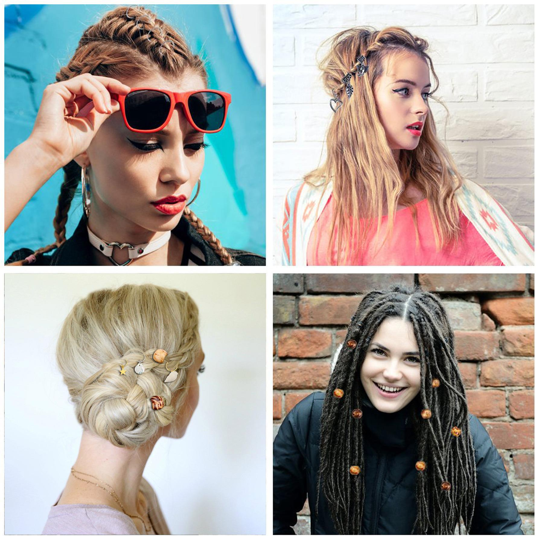 Naro Anneaux microbilles cheveux Braid Cuff africaine style sale Braid Anneau Rafraîchissez Hairpin ronde Métal Boucle Braid Coiffe étoile Hairband Hairpin