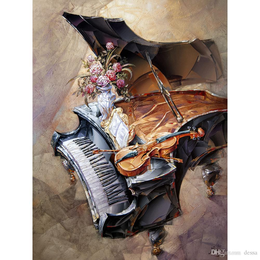 Wall art abstract oil painting Roses with Piano handmade women picture for room decor large canvas