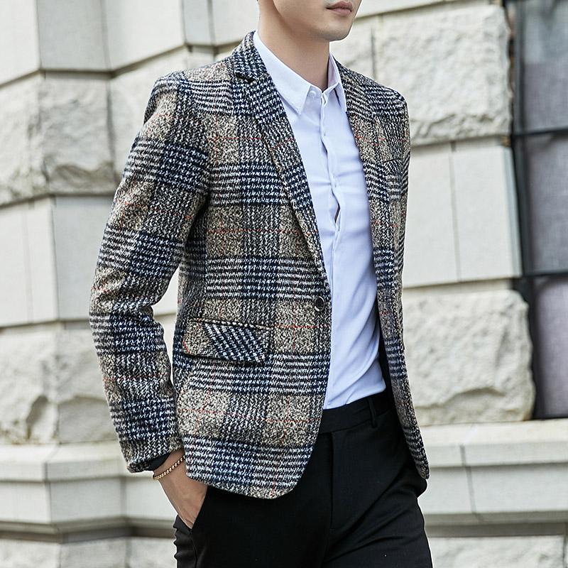 2019 İlkbahar Ve Sonbahar Erkek Yeni Lüks Moda Kişilik Tek düğme Suit Fit Boş Konfor İngiliz Moda Gençlik Blazer Ceket