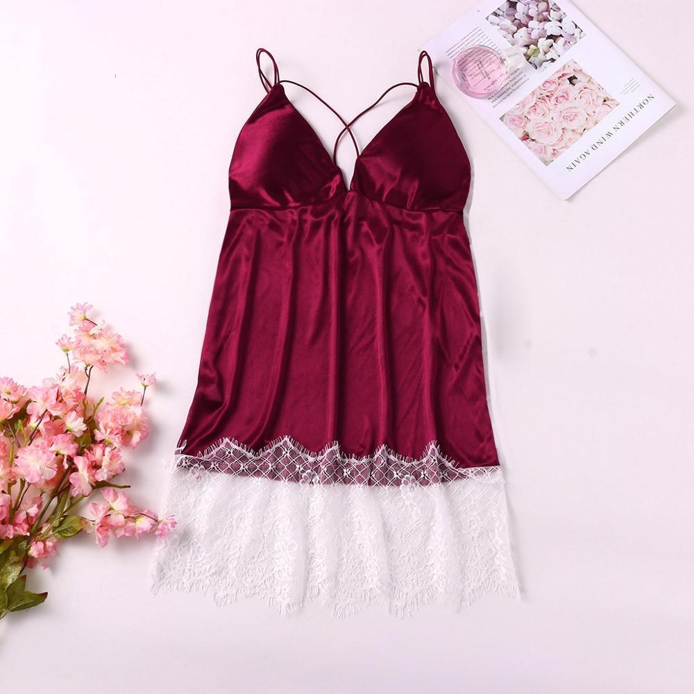 Sexy Plus Size Womens Nightgown Lingerie Patchwork Sleepwear Lace Satin Nighty Nightwear Nuisette Femme De Nuit Koszula Nocna