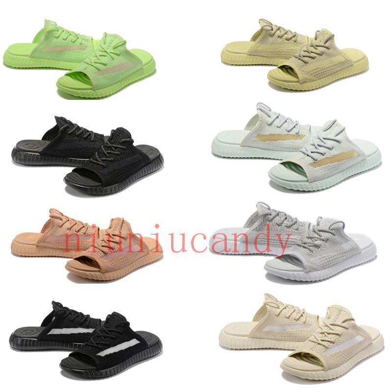 con los hombres del diseñador de alta caja de lujo y mujeres V2 cebra zapatillas crema de sésamo estática Kanye West og arcilla verdadera forma de onda hiperespacio 3M sandalias