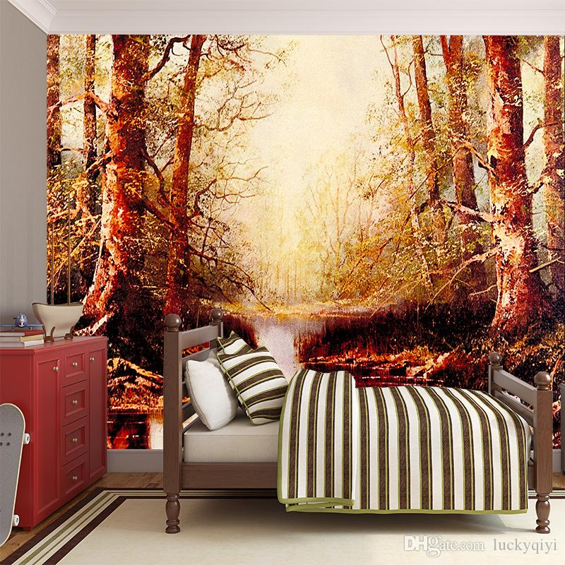 3D stereo large mural European landscape scenery woods living room sofa Wallpaper TV background wall painting