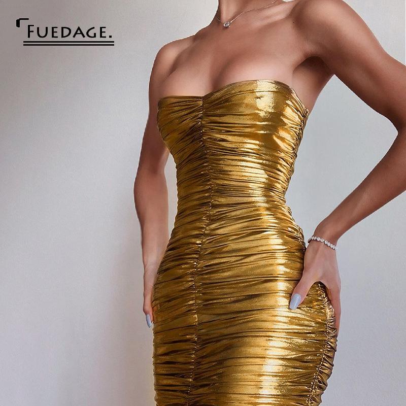 paño antiséptico, cuero falso, falda atractiva del oro, el cuerpo corrientes de las mujeres, vestido del vendaje de la primavera de torsión, Gretel parte del mediodía casaca Y200107