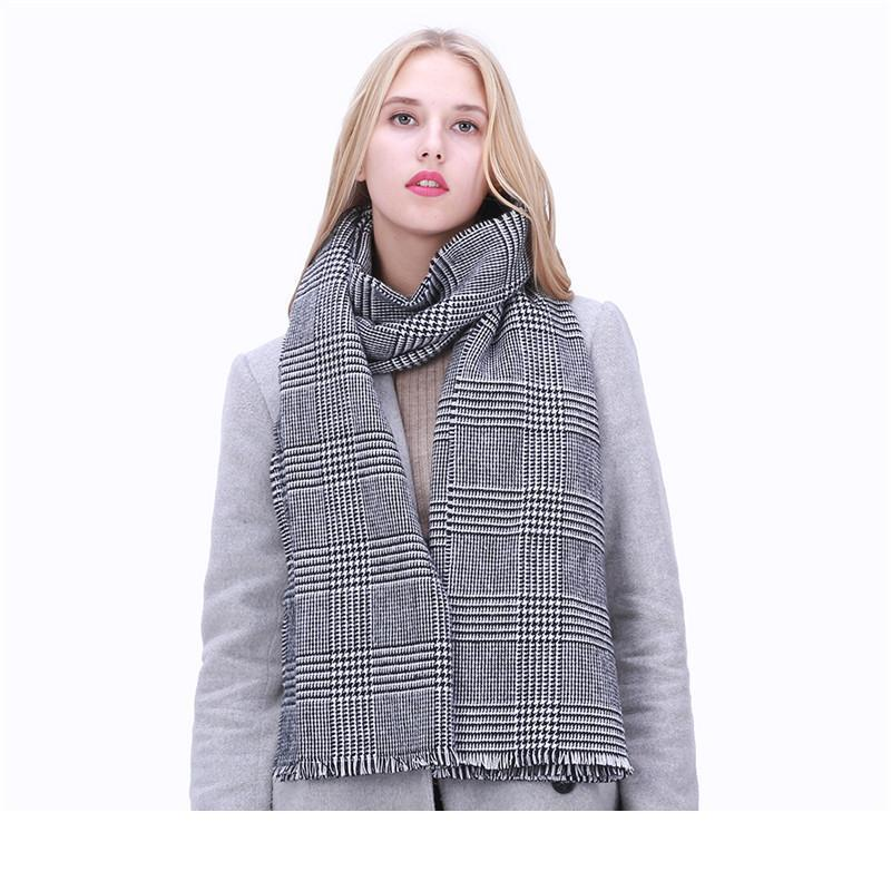 Designer POBING Za Winter Scaw Women Black White Plaid Cashmere Fashion Scarves Wram Basic Acrylic Wram Shall Female Bufandas Blan