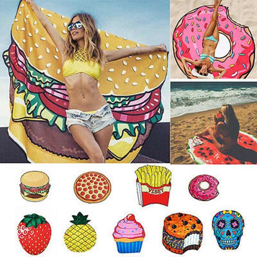 Moda Yuvarlak Havlu Plaj Battaniye Ananas Karpuz Donuts Mandala Plaj Havlusu Yuvarlak Kule Yoga Mat Piknik ZZA1761-2 mat