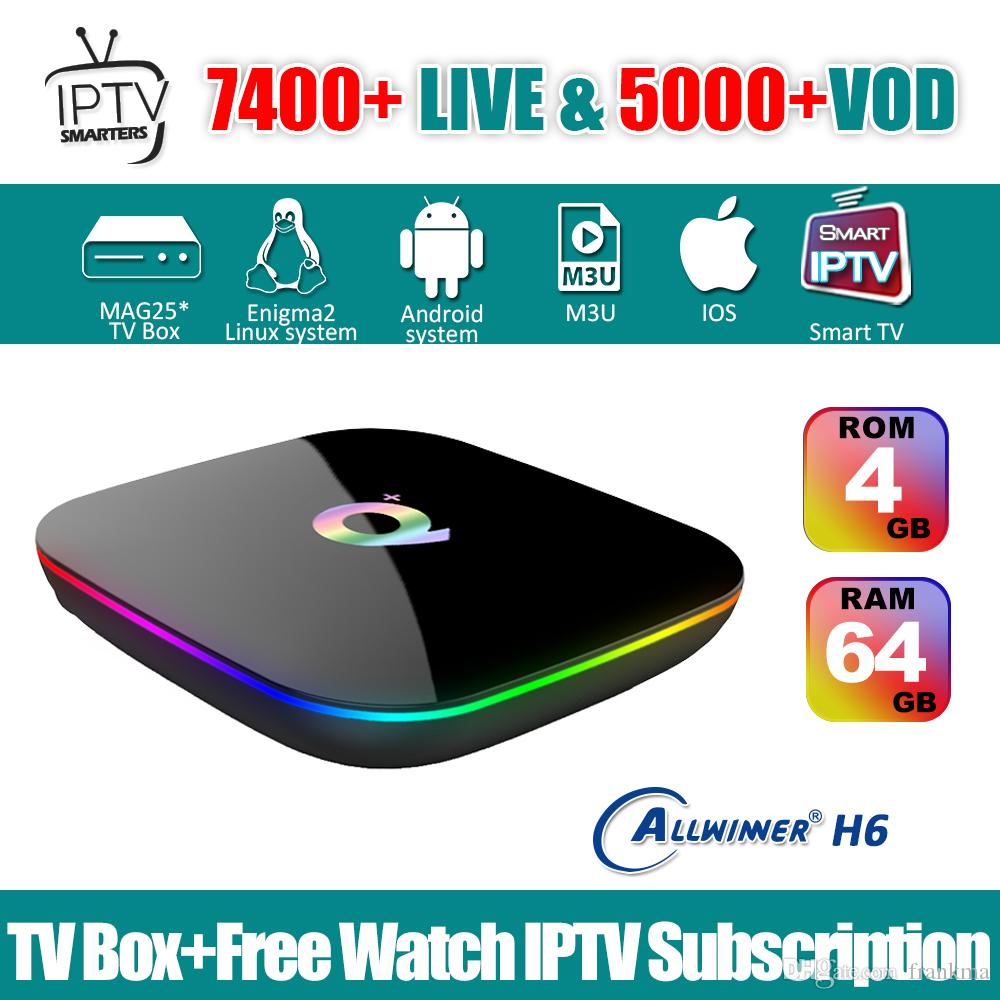 IPTV Android App Subscription Iptv Italy UK German French Spanish Mediaset  Premium With Android Box Q Plus 4G 64G Tv Smart Tvbox From Frankma, $66 94|