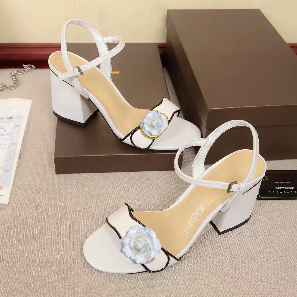 sandales à talons chaussures avec boîte 7.5cm usure parti cuir luxe rugueux peau de vache sandales à talons moyen