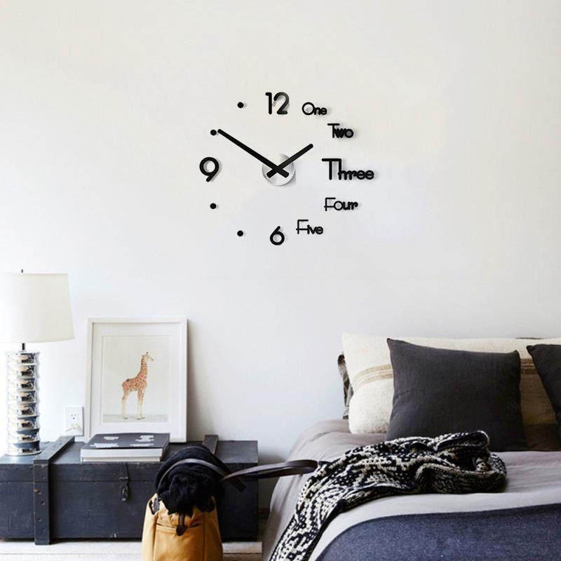 Parede removível Etiqueta 3D Relógio removível Relógio de parede adesivos DIY auto-adesivo Arte Silenciosa Home Living Room Decor
