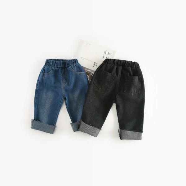 WNLEIGEL 2018 мальчики девочки джинсы дети джинсовый синий черный мода Жан  детские Все матч карман хлопок 8b441a39c46ad
