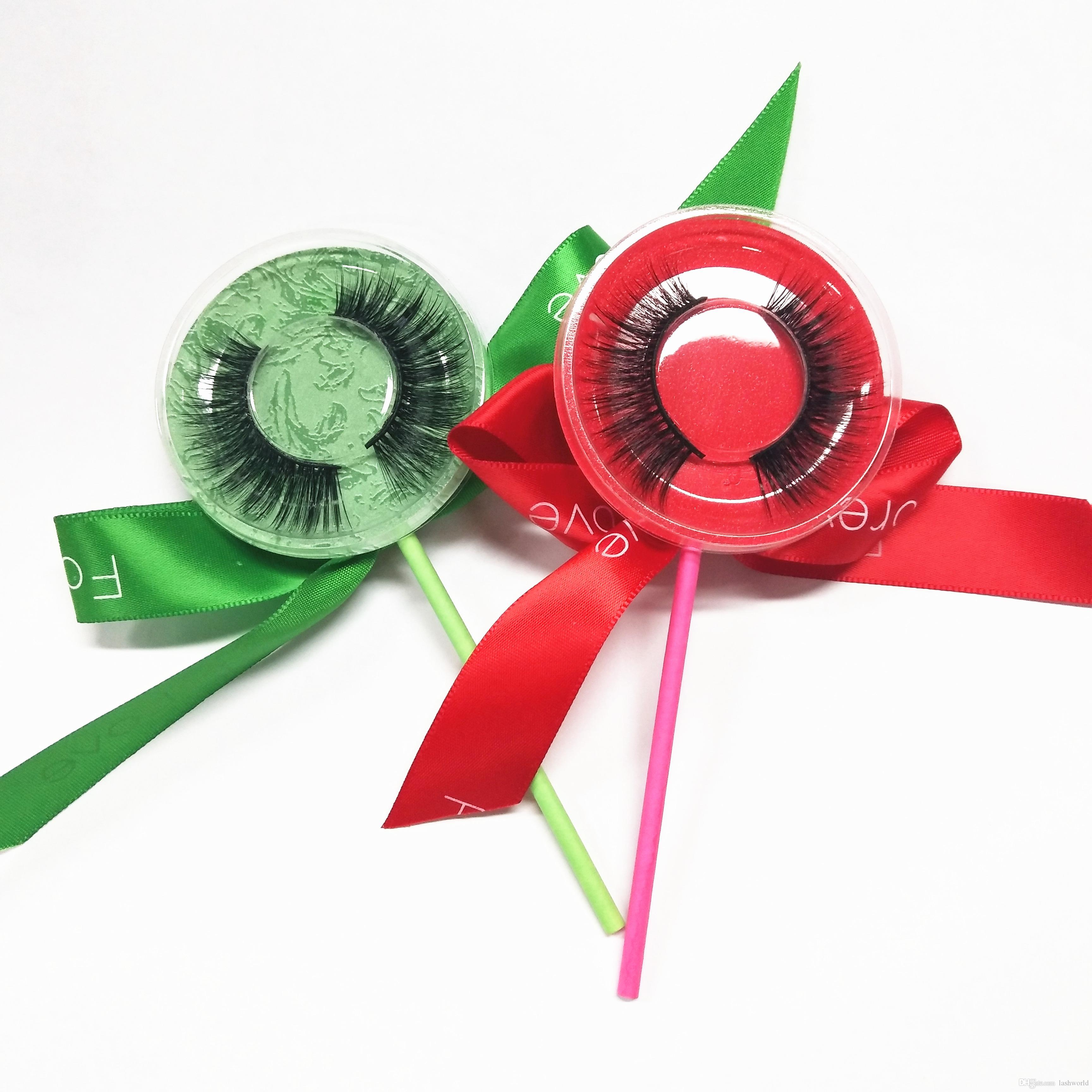 Lecca-lecca Scatola Ciglia finte Ciglia finte striscia 3D ciglia finte ciglia finte false accettano etichette private su adesivi