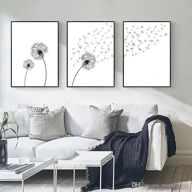Cartel nórdico Diente de león Arte de la pared Pintura en lienzo Abstracto Impresiones de carteles minimalistas en blanco y negro Arte de la pared Imágenes para la decoración moderna para el hogar N