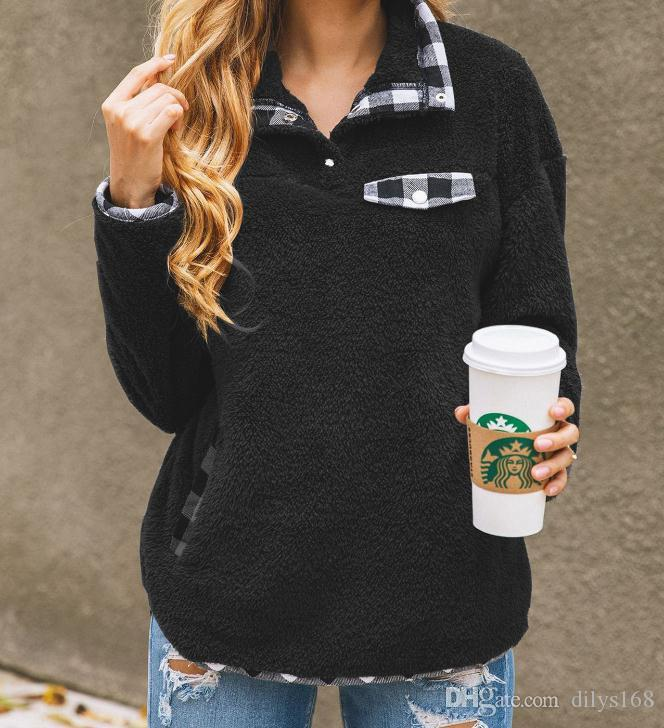 Женские толстовки кофты одежда Джемпер дизайнер черный толстовка зимняя мода решетки сращивания карманные кнопки женская куртка свитер