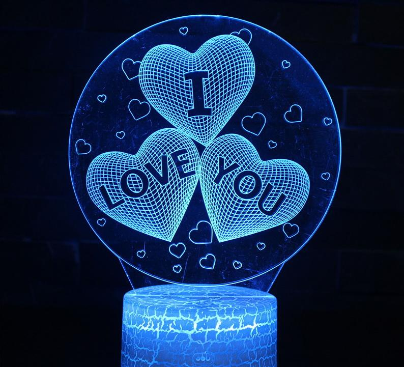 hot sale Novelty Valentine 3D I Love You 3D Night Light LED USB 7 Color Change LED Table Lamp Xmas Toy Gift wholesale