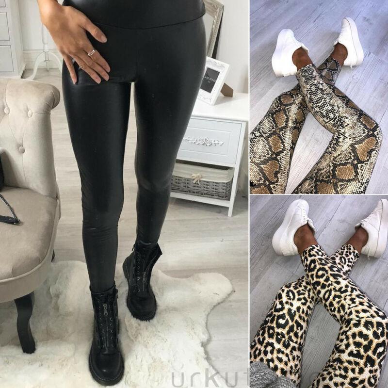 Kadın Casual Serpantin Leopar Baskılı Tayt Bayanlar Moda Saf Siyah Sahte Deri Tam Boy Pantolon