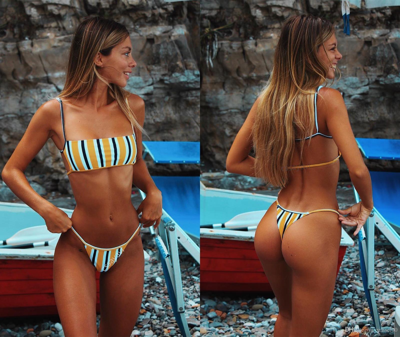 Mujer traje de baño correa verano bikini bikini chicas frescas impresión caliente sexy nueva playa vendiendo traje de baño rayado immlw