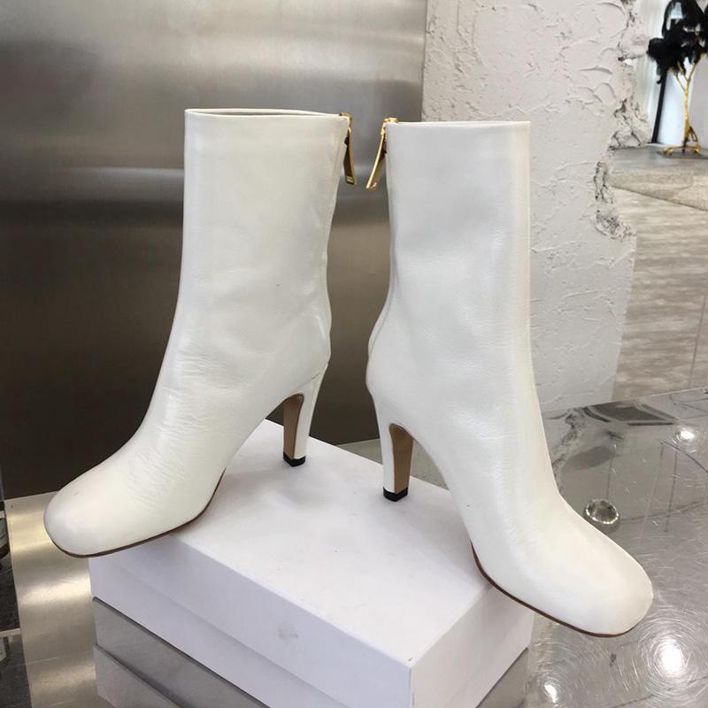 Sıcak Satış-BLOK Çizmeli LAVILLE BUZAĞI kadın patik Moda lüks kadın ayakkabı markası topuk Deri çizme kadın ayak bileği patik tasarımcı