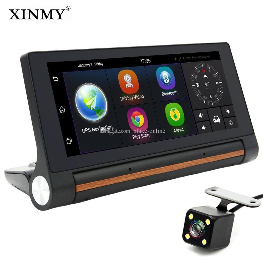 Smart 7 inch 4G Dashboard Android 5.0 WIFI Bluetooth Car DVR GPS Navigation Dual Lens RAM16GB 1080P Rear View Camera Parking Monitoring