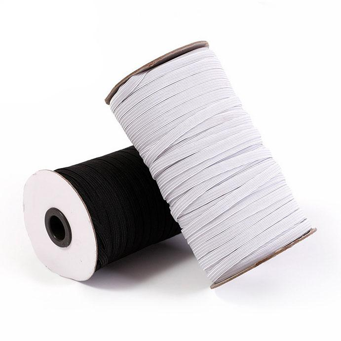 1 46mm Braided Elastic Cord White Black Heavy Stretch Knit Elastic