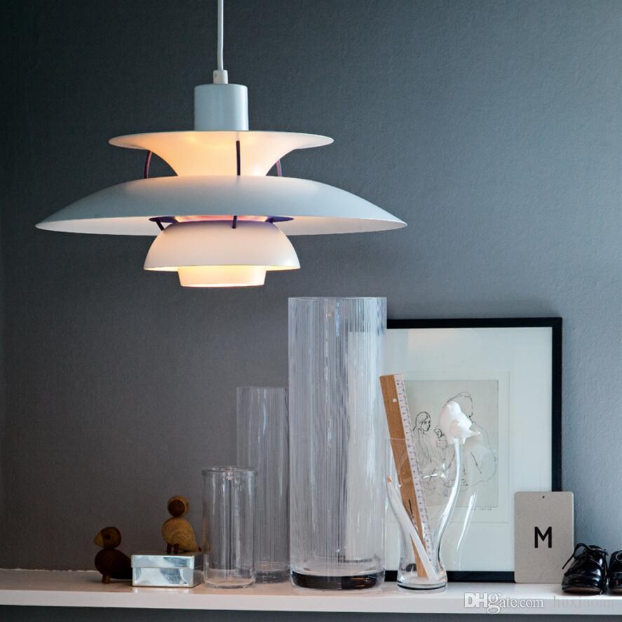 현대 램프 덴마크 PH5 펜던트 램프 침실 램프 화이트 블랙 매달려 라이트 서스펜션 Droplight 거실 식당